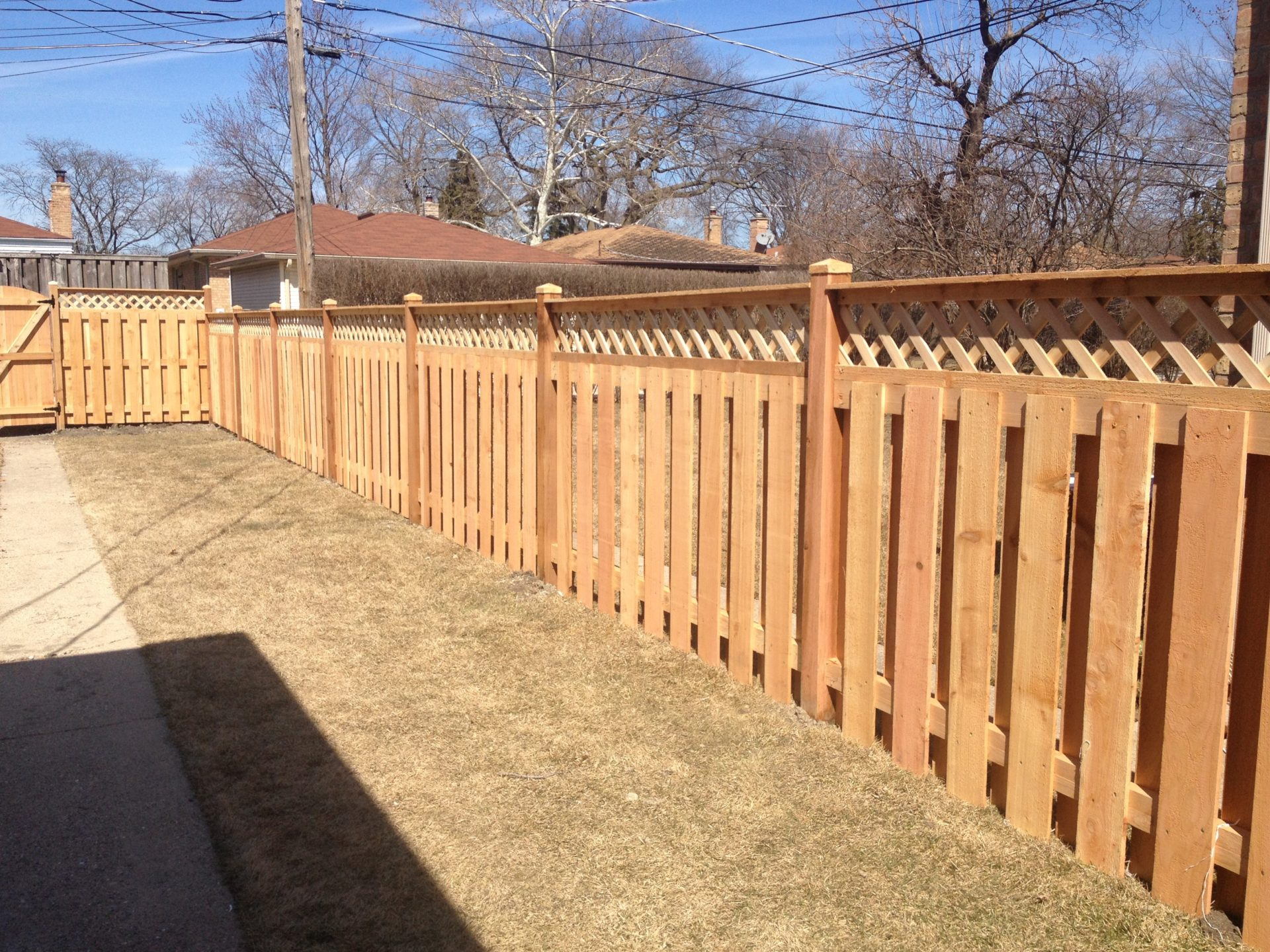 View our projects fences decks shadow box with diamond lattice and top rail baanklon Choice Image